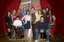 "The cast of Fox's musical comedy ""Glee."""