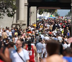 Crowds flock to Balboa Park on Earth Day 2009. The population in San Diego Co...