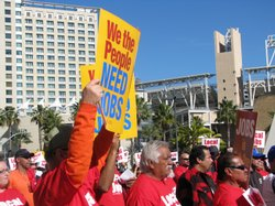 Labor union leaders and members gathered in downtown San Diego to fight the outsourcing of local jobs on January 6, 2010.