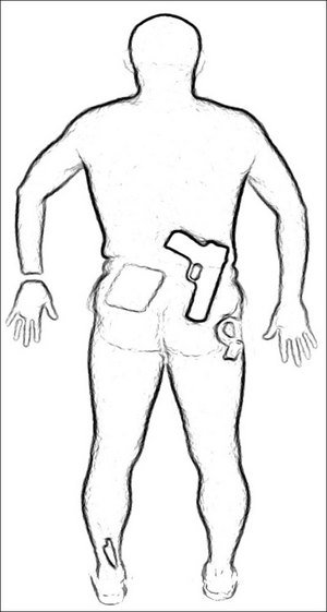 An image of a man scanned by a full-body scanner, with simulated weapons. The TSA has been piloting advanced imaging technologies in airports since 2007.