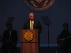 San Diego Mayor Jerry Sanders gives his State of the City address at the Balboa Theatre in downtown San Diego.