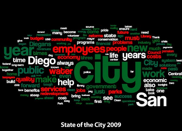 "In comparison, here's a ""word cloud"" of the mayor's 2009 State of the City Address. The words in red highlight some of the topics the mayor emphasized with greater prominence in both this year's and last year's addresses."