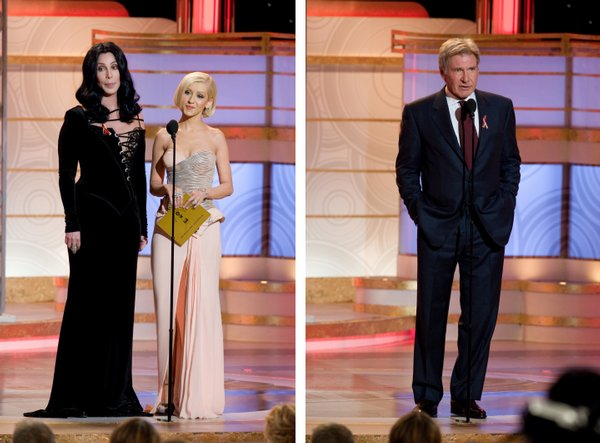 Scariest presenters: Cher and then later in the evening Harrison Ford