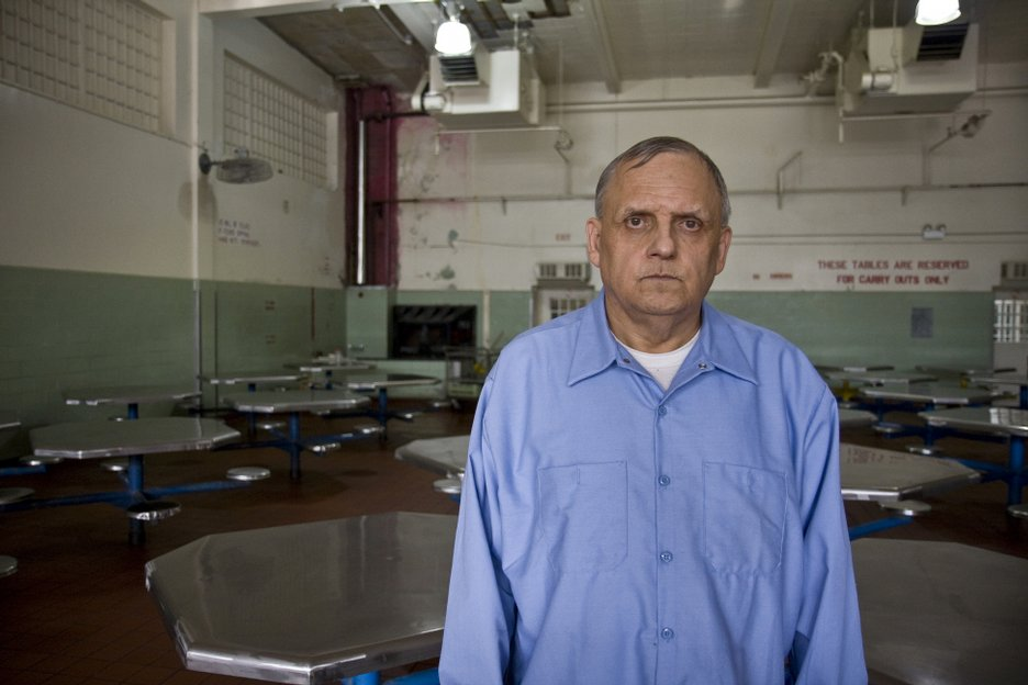 Richard Lauranzano, 62, stands in the prison lunch room. He is serving a 50-year sentence for seven counts of sexual offenses against children and murder.  He is currently being treated for a heart condition and was treated in prison for stage four, non-Hodgkin's lymphoma.  His cancer is now in remission.