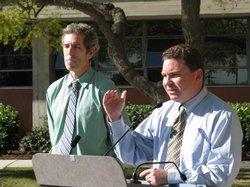 San Diego Unified school board president Richard Barrera (right) is expected to propose a timeline for the district's superintendent search on January 26, 2010.