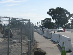 Construction continues on the main gate of Camp Pendleton in January of 2010. Additional capacity is being added to the gate in order to improve traffic conditions on Interstate 5.