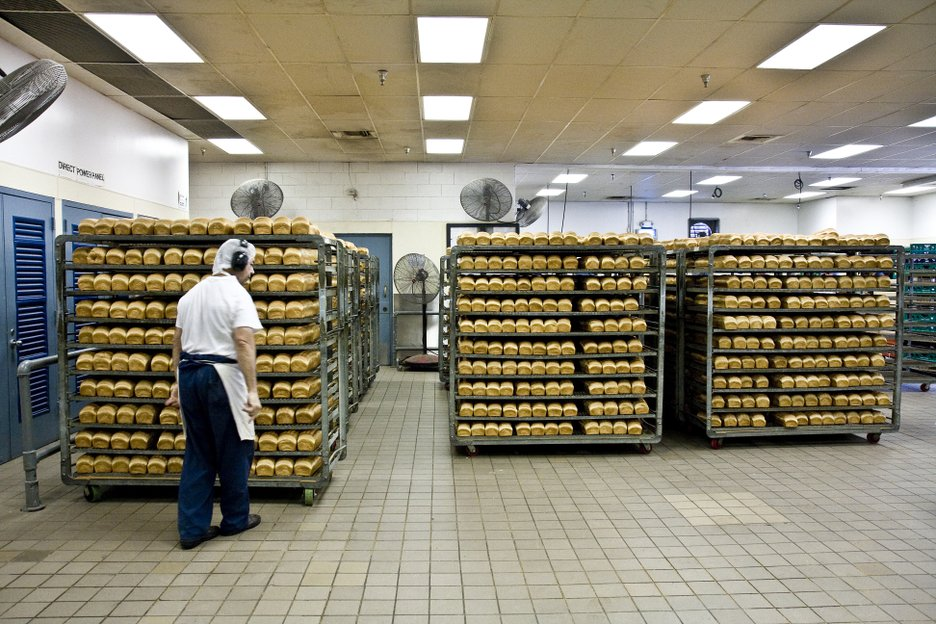 The bakery at R.J. Donovan Correctional Facility employs approximately 85 inmates.  The bakery makes roughly 18,000 loaves a day, serving Donovan and five other prisons.