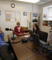 Host Maureen Cavanaugh, producer Pat Finn, and director Kurt Kohnen recording an interview with Level 4 inmate Terry Campbell, convicted of first degree murder.  The interview was recorded inside the R.J. Donovan Correctional Facility.