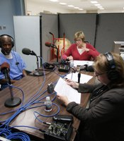 These Days host Maureen Cavanaugh and producer Pat Finn talk with inmate Robert Walker inside the R.J. Donovan Correctional Facility.