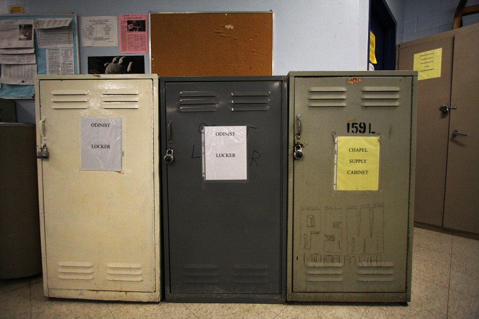 Lockers are given to the various faiths to store materials.  Odinism is a pagan religious tradition based in Old Norse gods and mythology.  Odin worship is often associated with the white supremacist movement.