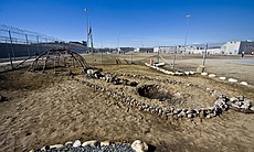 A sweat lodge in the yard at R.J. Donovan Recreational Facility.  There are between 150-200 Native Americans incarcerated at Donovan.