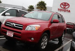 A brand new Toyota RAV4 is displayed on the Toyota of Marin sales lot January 21, 2010 in San Rafael, California.