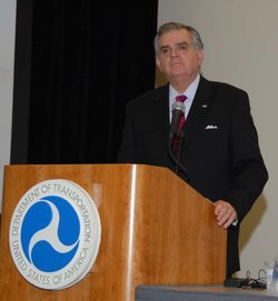 United State Secretary of Transportation Ray LaHood speaks at the National Po...