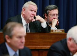 Rep. David R. Obey (D-WI) (R) and Rep.John Murtha (D-PA) listen to testimony ...