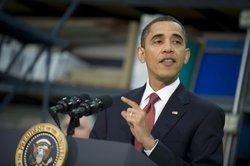 US President Barack Obama delivers remarks after meeting with small business owners at Oasis Mechanical Contractors February 5, 2010 in Lanham, Maryland.