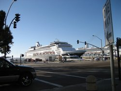 A cruise ship is moored at the North Embarcadero in San Diego.