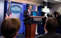 U.S. President Barack Obama speaks to the media in the briefing room of the W...