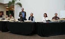 Fossils discovered in the East Village were presented February 17, 2010 at the San Diego Natural History Museum. Above from left: Sarah Siren, Field Manager for the San Diego Natural History Museum; Pat Sena, Field Monitor for SDNHM; Dr. Thomas Deméré, Curator of Paleontology at SDNHM; Rudy Hasl, Dean of the Thomas Jefferson School of Law; Maggie Carrino, Fossil Preparation Lab Manager at SDNHM; Kesler Randall, Collections Manager at SDNHM.