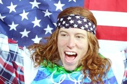 Shaun White of the United States reacts after winning the gold medal in the S...