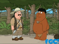 """Black Peter"" and ""White Cleveland"" from the animated sitcom ""Family Guy."""