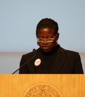 Associate Professor Nadine George-Graves speaks at the UCSD teach-in on February 24, 2010 in response to the 'Compton Cookout,' a racially-themed party near campus.