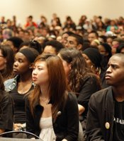 Students listen at the UCSD teach-in on February 24, 2010 as speakers address the controversy following the 'Compton Cookout,' a racially-themed party near campus.