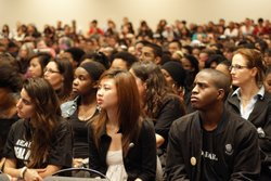 Students listen at the UCSD teach-in on February 24, 2010 as speakers address...