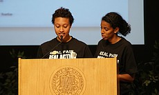Two UCSD students, Jasmine Philips (L) and Fnann Keflezighi (R), spoke at the teach-in on February 24, 2010. After speaking briefly about the 'Compton Cookout' racially-themed party and the administration's response, the students urged all students in attendance to walk out of the administration's teach-in.
