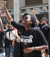 Students gathered outside of UCSD's Price Center on February 24, 2010 to stage a student-led teach-in in response to the 'Compton Cookout' racially-themed party and the administration's response.