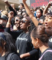 Students gathered outside of the UCSD Price Center on February 24, 2010 to protest the 'Compton Cookout,' a racially-themed party near campus. The students staged their own teach-in as a response to the administration's official teach-in.
