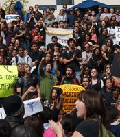 UCSD students gathered outside of the Price Center on campus on February 24, 2010 to protest recent racially-charged events on campus.