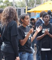 UCSD student Fnann Keflezighi speaks to the crowd attending the student-led teach-in on February 24, 2010. The teach-in was a response to recent racially-charged events on and around campus.