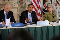 President Barack Obama gives his opening remarks during a bipartisan meeting ...