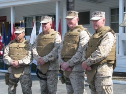 (Left to right) Sgt. Maj. Michael Barrett, Brigadier General Jo Osterman, Maj.Gen. Richard Mills and Sgt. Maj. Phillip Fascetti are members of the First Marine Division Headquarters Unit that is preparing to deploy to Helmand Province to take over command from Marines based at Camp LeJeune.