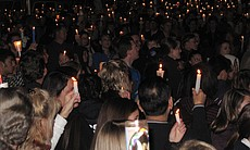 Thousands of mourners gathered at St. Michael's Catholic Church for a candlelight vigil and procession in memory of 17-year-old Chelsea King on March 2, 2010.