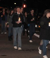 Thousands of Chelsea King's friends, family and community members walk with candles in silence down Pomerado Rd on March 2, 2010.
