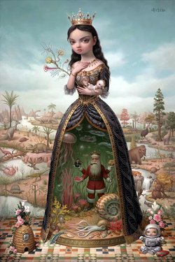 A painting by pop surrealist Mark Ryden.