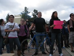 San Diego State University students attend a noontime rally on March 4, 2010, as part of the statewide protest against budget cuts.