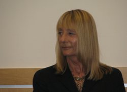 San Diego City Councilwoman Donna Frye at a political forum on March 5, 2010. Frye recently announced she would not run for a seat on the San Diego County Board of Supervisors.