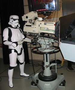 An Imperial stormtrooper assists the production at KPBS.