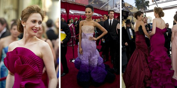 Vera Farminga with ruffles and Zoe Saldana with feathers, and Penelope Cruz and Farminga from an unflattering rear angle.
