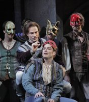 "American baritone David Adam Moore (Mercutio) and American tenor Stephen Costello (Romeo) flanked by the Mercutio clan in a scene from San Diego Opera's ""Romeo and Juliet"". March 2010"
