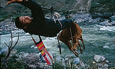 Muscling over the Nu River's rush on a steel cable, Nan Boyi hauls a cow to market. The hard-earned sale brought this Lisu-minority villager about $150, two-thirds the average yearly income in rural Yunnan Province. Photo by Fritz Hoffman published in National Geographic Magazine, May 2009.