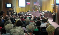 The San Diego County Administration Chambers was packed during Merriam Mounta...
