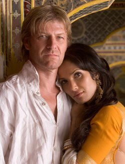 """Top Chef's"" Padma Lakshmi (right) guest stars as Madhuvanthi, a beautiful schemer who is out to seduce Sharpe (Sean Bean)."