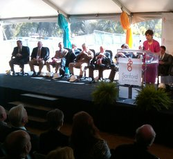 UCSD Chancellor Marye Anne Fox speaks at the groundbreaking for the Sanford C...