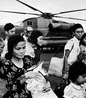 Once they landed on the USS Midway, refugees had to get off the four-acre flight deck quickly.  At times, more than a dozen helicopters filled with refugees hovered over the aircraft carrier, waiting for permission to land.