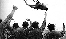 USS Midway crews had trained Air Force helicopter pilots for several days prior to the start of Operation Frequent Wind.  Here, one of the first Air Force helos departs for Saigon.