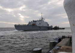 NORFOLK, Va. (Dec. 15, 2008) The littoral combat ship USS Freedom (LCS 1) arrives in Norfolk after a month-long underway through the Great Lakes, Eastern Canada and the Northeast coast of the United States. Freedom will be undergo post-delivery tests and sea trials in Norfolk before transiting to its homeport in San Diego.