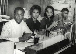 L-R: College students Matthew Walker, Peggy Alexander, Diane Nash and Stanley...